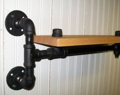 """18"""" Black Pipe Iron and Wood Shelves (Left and Right Mount)"""