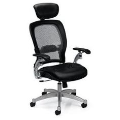 Mesh High-Back Ergonomic Chair with Leather Seat - 56475, NBF Office Chairs.