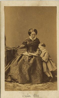 ~ A Cabinet Card Of A Mother Reading To Her Son ~