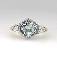Fantastic 1920's 1.06ct t.w. Hexagonal Aquamarine & Diamond Ring 14k/Plat