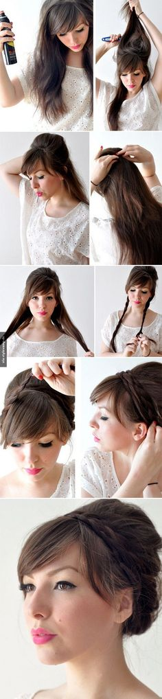 I can't wait for my hair to be longer so I can try this! Holiday-Braided-Updo-Hairstyle-for-Medium-Long-Hair-Tutorial. Summer Hairstyles, Up Hairstyles, Pretty Hairstyles, Wedding Hairstyles, Braided Hairstyles, Amazing Hairstyles, Long Hairstyles With Bangs, Waitress Hairstyles, Church Hairstyles