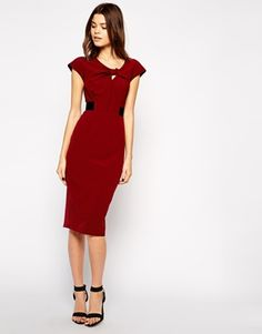 ASOS Pencil Dress with Knot Front and Contrast Waist
