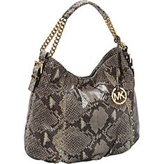 MICHAEL Michael Kors Middleton Embossed Python Medium Shoulder Bag - Dark Sand - via eBags.com!