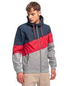 Veste légère imperméable à capuche pour Homme - Tricolore Bleu Rouge Gris -  RAGWEAR 6883ceb71e04