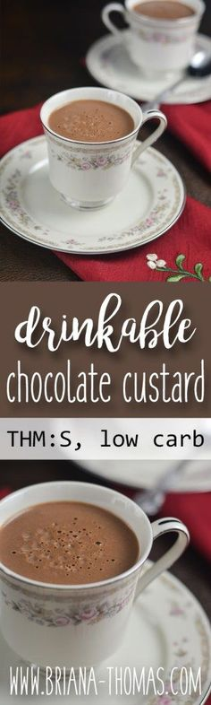Drinkable Chocolate Custard - my annual hot chocolate recipe for my fourth bloggiversary!  This hot drink is rich and thick and velvety smooth...so decadent!  Leftovers turn into a luscious pudding when refrigerated.  THM:S, low carb, sugar free, low glycemic, gluten free, nut free option