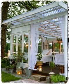 The pergola kits are the easiest and quickest way to build a garden pergola. There are lots of do it yourself pergola kits available to you so that anyone could easily put them together to construct a new structure at their backyard. Outdoor Rooms, Outdoor Gardens, Outdoor Living, Outdoor Bedroom, Garden Bedroom, Dream Bedroom, Indoor Outdoor, Summer Bedroom, Outdoor Art