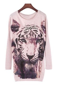 Beaded Tiger Graphic Sweater OASAP.com