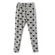Grey Drawstring Heart Print Pant ($26) ❤ liked on Polyvore featuring pants, drawstring trousers, drawstring pants, gray trousers, grey trousers and grey pants