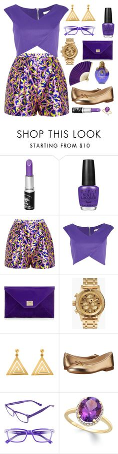 """Purple & Gold"" by renna-ravenwood ❤ liked on Polyvore featuring Manic Panic NYC, OPI, River Island, Jimmy Choo, Nixon, ChloBo, Dolce&Gabbana and Corinne McCormack"