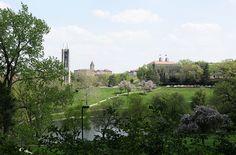 A view of the University of Kansas across Potter Lake.