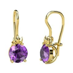 Round Amethyst 14K Yellow Gold Earrings   Gem Flame Earrings   Gemvara