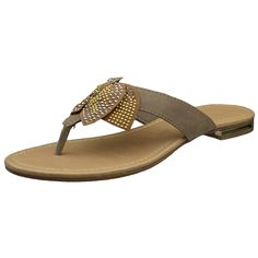 Womens Flat Sandals Studded Bow Accent Slip On Thong Sandal ** You can find more details by visiting the image link.