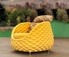 what a quirky fun yellow chair - Rapunzel Chair and Pouf Collection by Kenneth Cobonpue Wicker Furniture, Living Furniture, Painted Furniture, Modern Furniture, Home Furniture, Poolside Furniture, Unusual Furniture, Dream Furniture, Antique Furniture
