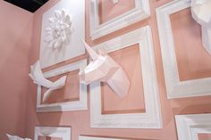 PAPA Collection attended at Seoul Living Design Fair The Exhibition concept was 'Blooming Garden'. White animals & blossoms made a beautiful combination with pink color wall. Wall Colors, Pink Color, Illustration, Paper Art, Bloom, Concept, Seoul, Frame, Window Displays