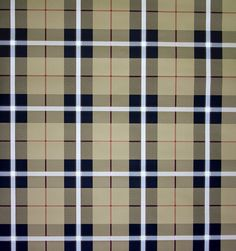 Winslow Plaid Wallpaper A tartan wallpaper in camel and charcoal with thin burgundy stripes.