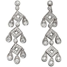 Preowned 1990S Tiffany & Co. Diamond Platinum Pagoda Earrings ($9,500) ❤ liked on Polyvore featuring jewelry, earrings, multiple, diamond earrings, diamond jewellery, platinum earrings, preowned jewelry and tiffany & co jewelry