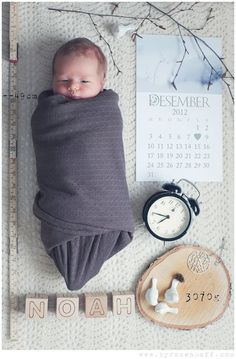 In this visual birth announcement, a clock tells the baby's birth minute, blocks spell out his name, and the heart on the calendar lets us know his birthday. Sweet, cute, clever!
