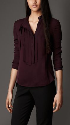 Pleat and Bow Silk Tunic Shirt | Burberry London