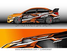 Car wrap design vector, truck and cargo van decal. Graphic abstract stripe racing background designs for vehicle, rally, race, adventure and car racing livery. Car Wrap Design, Course Automobile, Vw Amarok, Design Vector, Van Car, Van Design, Racing Helmets, Truck Decals, Car Repair Service