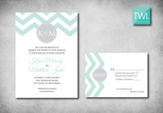 Mint and Grey Chevron Wedding Invitation and by TheWhiteInvite, $3.00
