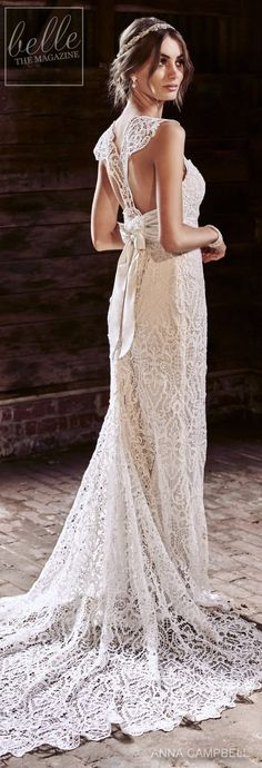 anna campbell 2018 bridal cap sleeves sweetheart neckline full embellishment elegant sheath wedding dress lace rasor back sweep train bv -- Anna Campbell 2018 Wedding Dresses Wedding Dresses 2018, Bridal Dresses, Sophisticated Bride, Elegant, Anna Campbell, Gorgeous Wedding Dress, Lace Wedding, Bohemian Bride, Vintage Bridal
