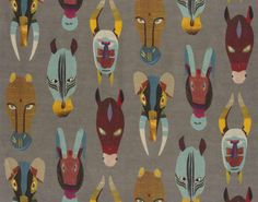 I am itching to use the Marabout fabric in a children's playroom, the tribal mask pattern is directly influenced by the finest examples of A...