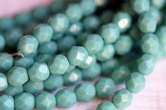 6mm Türkis Feuer poliert Böhmische Glasperlen - Perlen-Suppe-Perlen