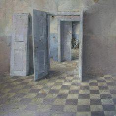 Matteo Massagrande, Interno, 2010, tecnica mista su tavola, 50 x 50 cm #contemporary #art #painting