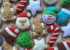 Felt Ginger Cookie Tree Ornaments-Christmas Ornaments-Christmas Decorations-Christmas Cookies-Felt Christmas Ornaments-Felt Ornaments by GingerSweetCrafts on Etsy https://www.etsy.com/ca/listing/108951903/felt-ginger-cookie-tree-ornaments