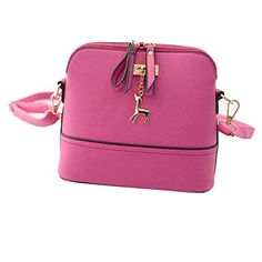 Voberry® New Women Messenger Bags Vintage Small Shell Leather Handbag Casual Bag (Pink) - http://leather-handbags-shop.com/voberry-new-women-messenger-bags-vintage-small-shell-leather-handbag-casual-bag-pink/