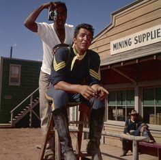 Sammy Davis Jr. and Dean Martin on the set of Sergeants 3 (1962)