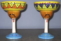 Sombrero margarita glasses painted by customer at Art  Soul