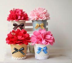 Flores de tela en macetas de vasos reciclados ~ Solountip.com