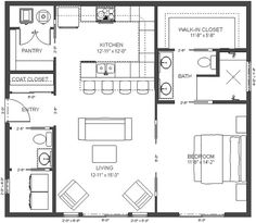 Browse our large selection of house plans to find your dream home. Modifications and custom home design are also available. The Plan, How To Plan, Small House Floor Plans, Dream House Plans, 1 Bedroom House Plans, Retirement House Plans, Guest House Plans, Military Retirement, Retirement Cards