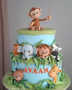 Little jungle by Couture cakes by Olga Jungle Birthday Cakes, Jungle Theme Cakes, Animal Birthday Cakes, Safari Cakes, Baby Boy 1st Birthday Party, Animal Cakes, 1st Birthday Cakes For Boys, Jungle Safari Cake, Jungle Jungle