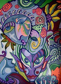 by Anya Katamari #illustration #katamariart #handdraw #graphics #colors #portrait #fantasy #colorful #anyakatamari #acrylic