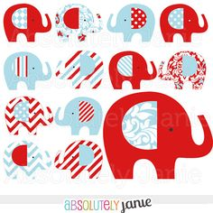 Red Blue Baby Elephant Digital Clipart .............................. by absolutely janie (via Etsy)