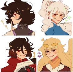 I really like the art style:) Rwby Anime, Rwby Fanart, Rwby Manga, Anime Couples Manga, Cute Anime Couples, Anime Girls, Rwby Blake, Rwby Volume, Rwby Characters