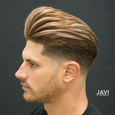 Pompadour fade haircuts are on trend. Check out popular pompadour hairstyles with classic greats, modern texture and every type of fade. Pompadour Fade Haircut, Quiff Haircut, Undercut Hairstyles, Brunette Hairstyles, Fringe Hairstyles, Wedding Hairstyles, Pixie Hairstyles, Bouffant Hairstyles, Updos