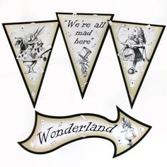 Classic-Alice-in-Wonderland-Party-signs-and-bunting-Mad-Hatters-Tea-Party-Props
