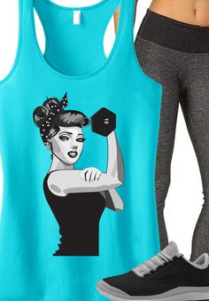 Cute #Workout Outfit Inspiration! ROSIE THE RIVETER #Gym tank by NoBull Woman. Click here to buy http://nobullwoman-apparel.com/collections/best-sellers/products/modern-rosie-the-riveter-workout-tank-top-teal