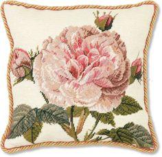 needlepoint images | Rose Needlepoint Pillow | Pale Pink Rose Needlepoint Pillow | Floral ...