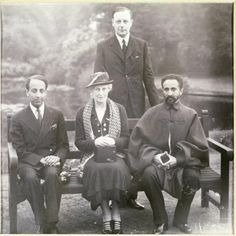 H.I.M. Haile Selassie Emperor of Ethiopia and Crown Prince with the 10th Earl of Stamford and Lady Stamford
