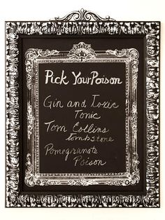Make a Framed Halloween Menu: Welcome party guests to your gothic gala with detailed decorations. Make an ornate menu board, for instance, to hang by the beverage center. Start with a ready-made chalkboard in a frame (the center one) and mount it to a sheet of poster board that's set in a painted-to-match frame. Serve up gruesome-colored drinks.