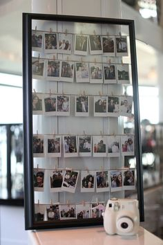 photos with a polaroid camera instead of a guest book. people can write a little…