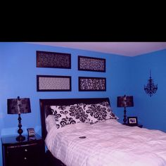 Blue, black and white teenage girl bedroom