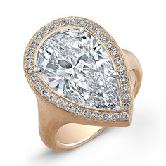 Ilaria Ring - Satin finish ring with Pear shape brilliant diamond center accented with white diamond melee in 18kt rose gold.