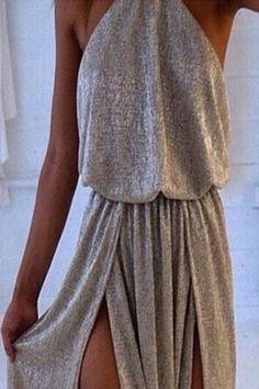 Sexy Irregular sleeveless Open fork dress