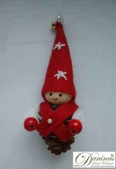 Daninas Crafts ♥ Handmade with Love. Handmade fairy tale character made of larch cones. Handmade decoration from natural materials Easy Diy Christmas Gifts, Felt Christmas Decorations, Christmas Ornament Crafts, Handmade Decorations, Handmade Christmas, Handmade Crafts, Holiday Crafts, Christmas Pine Cones, Christmas Angels