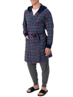 2e04c1c7bf Fruit of the Loom Men s Flannel Hooded Robe Dec 25th Christmas deals Fits  all  fashion